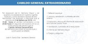 Cabildo General Extraordinario de hermanos @ Salones parroquiales