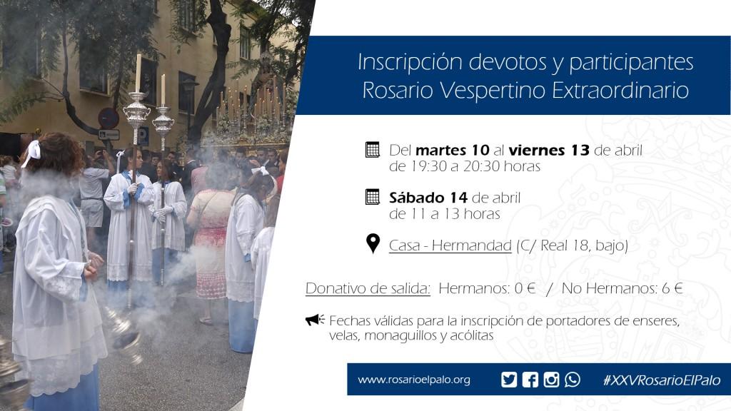 Rosario Vespertino - Inscripcion enseres